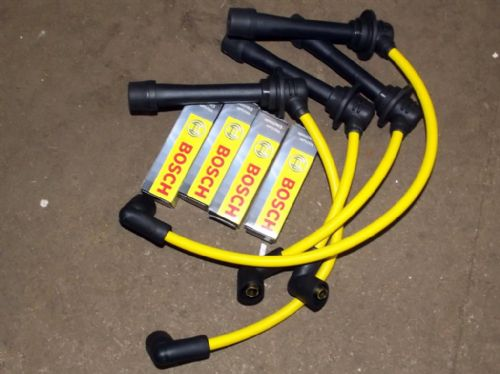 HT leads and Bosch Spark plug set, yellow, Mazda MX-5 mk1 & mk2